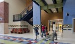 Locust Grove middle school. students walking in lobby between classes.