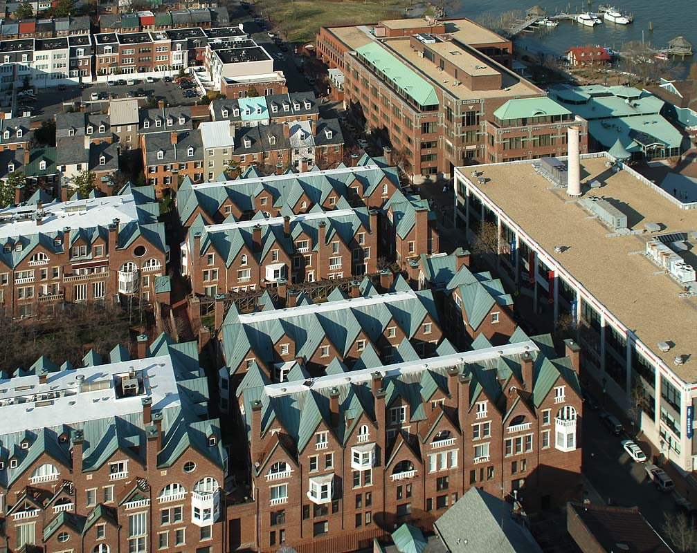 multi-story row houses seen from above