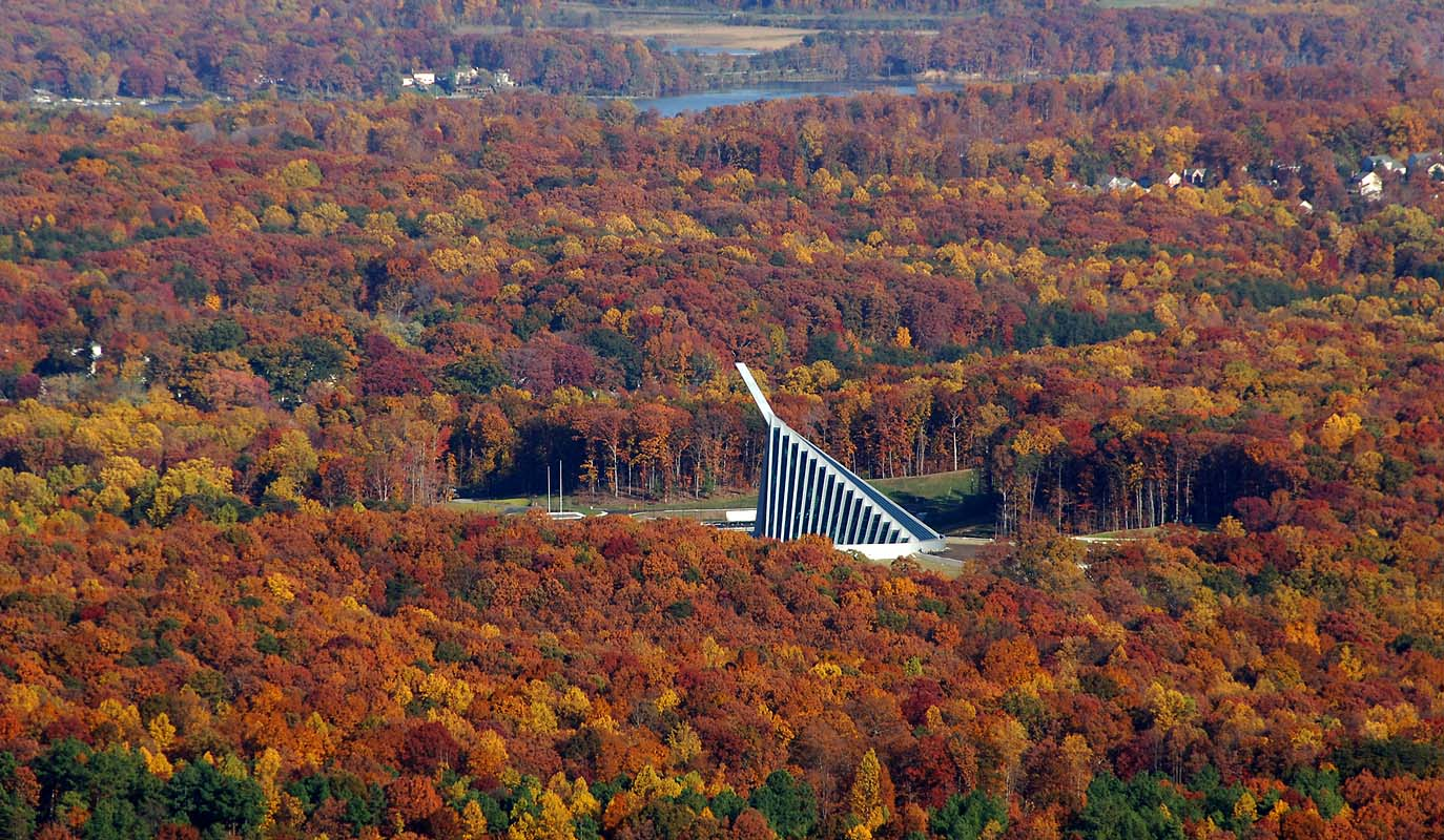 aerial view with fall color