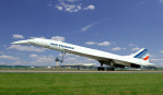 Concorde airplane touching down