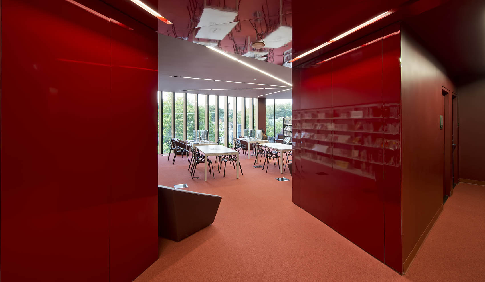 angled red walls lead into study area