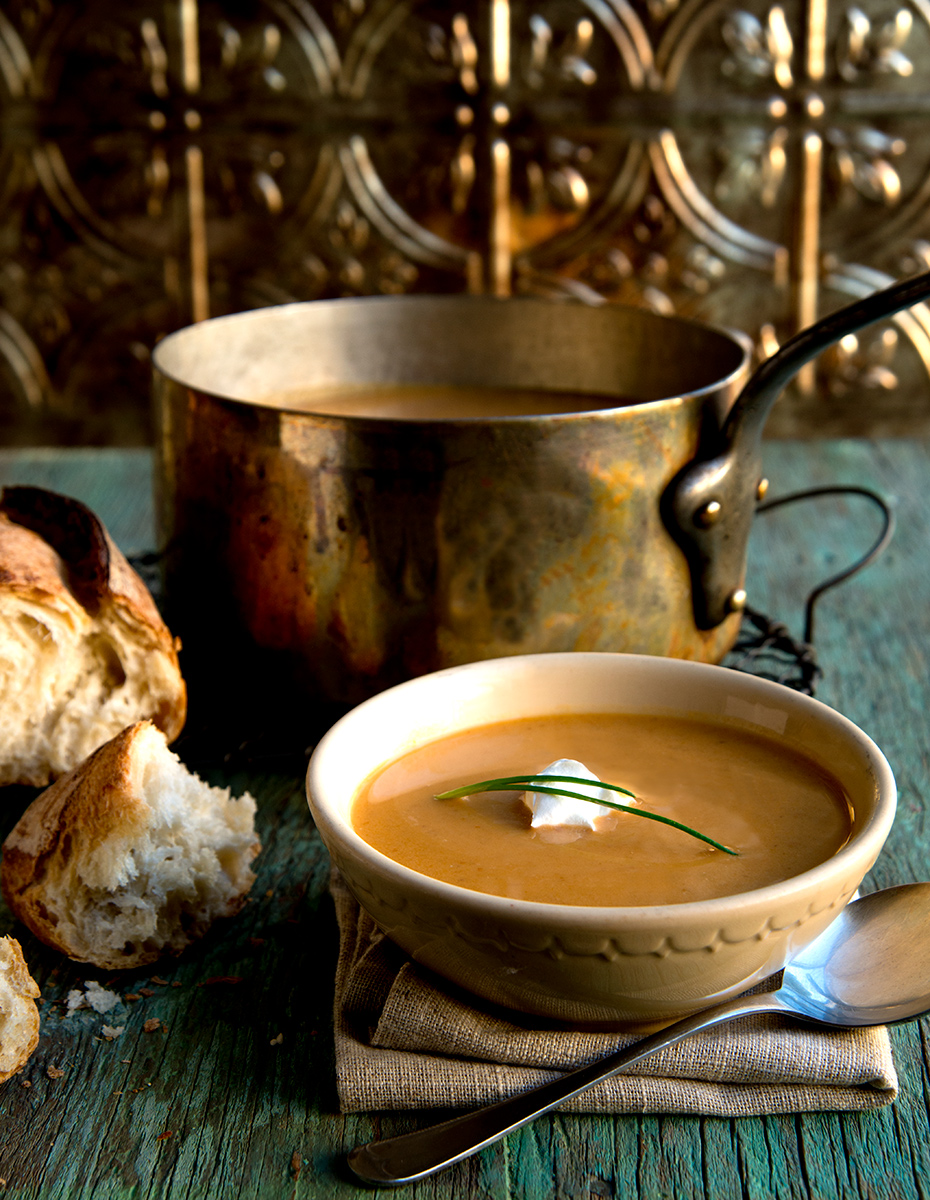 Soup in copper Kettle-Carl Kravats food photographer