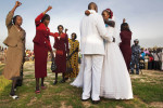 The bride and groom enjoy their first dance at their wedding reception.Mijak, Abyei Area