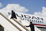 The last members of President Omar Hassan al Bashir's delegation board the presidential jet as it prepares to depart Juba.  President Bashir visited Juba days ahead of the southern Sudan self-determination referendum and committed to respecting the will of the voters.Juba, southern Sudan