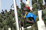 A soldier raises the South Sudanese flag during rehearsals for the independence celebration.Juba, southern Sudan