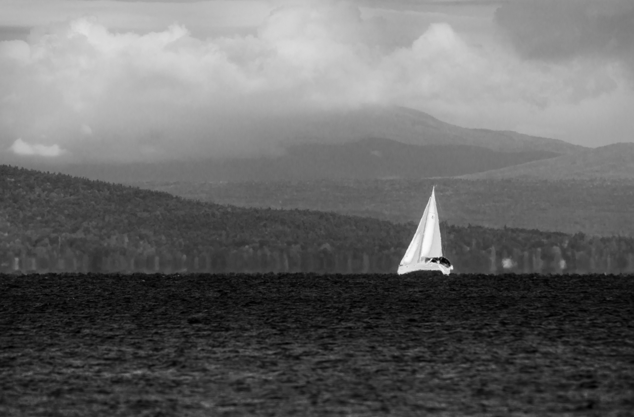 Black and White Sailboat