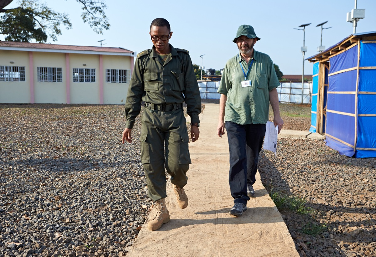 Dr Tim O'Dempsey from the Liverpool School of Tropical Medicine and Dr Jaol from the Royal Sierra Leone Army make final inspections of the PTS2 Ebola treatment centre opining in Freetown Sierra Leone