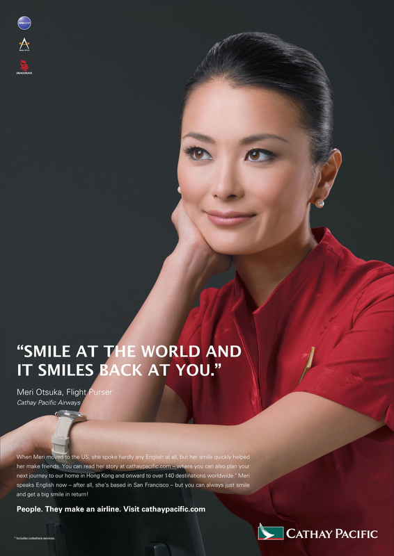 Advertisement for Cathay Pacific featuring Meri Otsuka