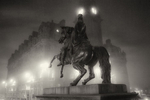 Duke of Wellington statue on Princes Steet at night in the fog