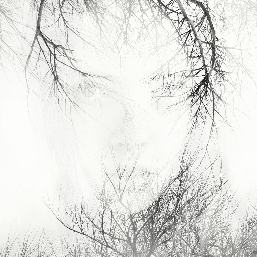 double exposure face in trees