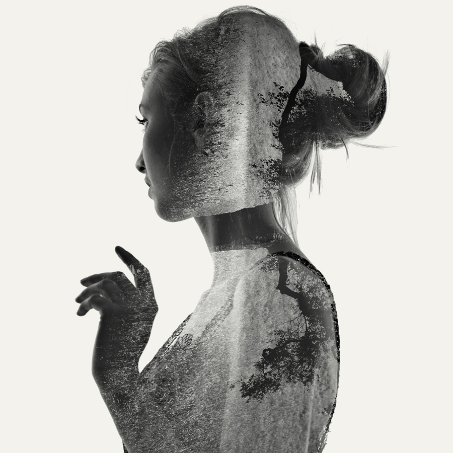 double exposure  portrait of a girl.