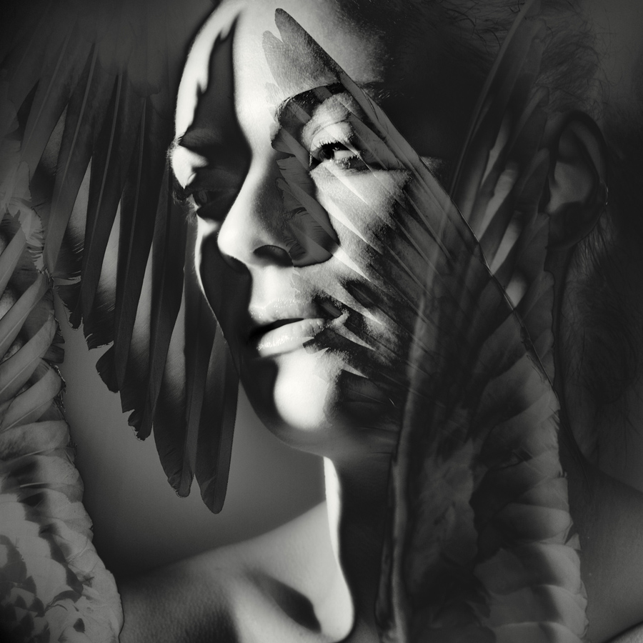 double exposure  portrait of a nude girl and feathers.