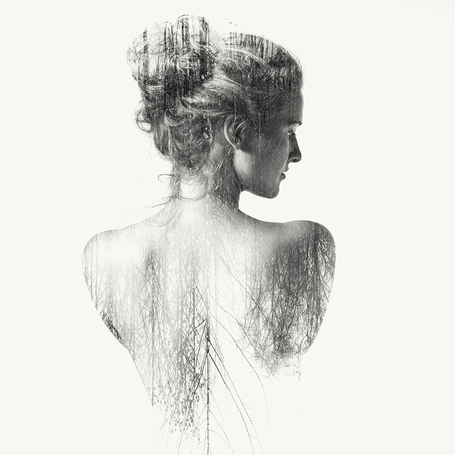 double exposure nude of a woman