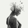 double exposure  portrait of a nude girl. Purchase here