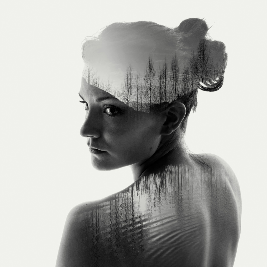 double exposure  portrait of a nude girl.