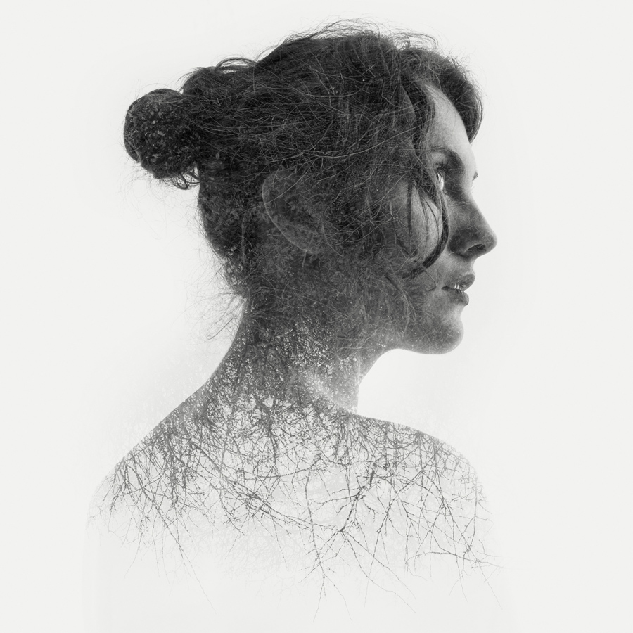 double exposure portrait of a beautiful nude girl