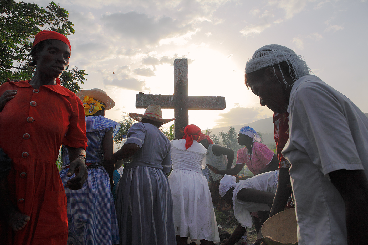 Haitian Vodou is unique in that its rituals were commingled as a result of slavery.  Not only with Catholicism which was assimilated into the ancient African symbology, but also a tribal fusion was created between the Nago, Congo, Dahomey, Senegalese, Ethiopian and many other tribes brought to the island of Hispaniola.  Hill of the Calvary Cross, Haiti.