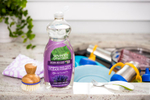 Seventh Generation product photography of purple Lavender Flower and Mint Scent non-toxic dish liquid in a kitchen Reciprocity Studio commercial photographers. Shot on location in Hinesburg, Vermont.