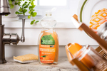 Seventh Generation product photography of orange Clementine Zest and Lemon Grass non-toxic dish liquid in a kitchen Reciprocity Studio commercial photographers. Shot on location in Hinesburg, Vermont.