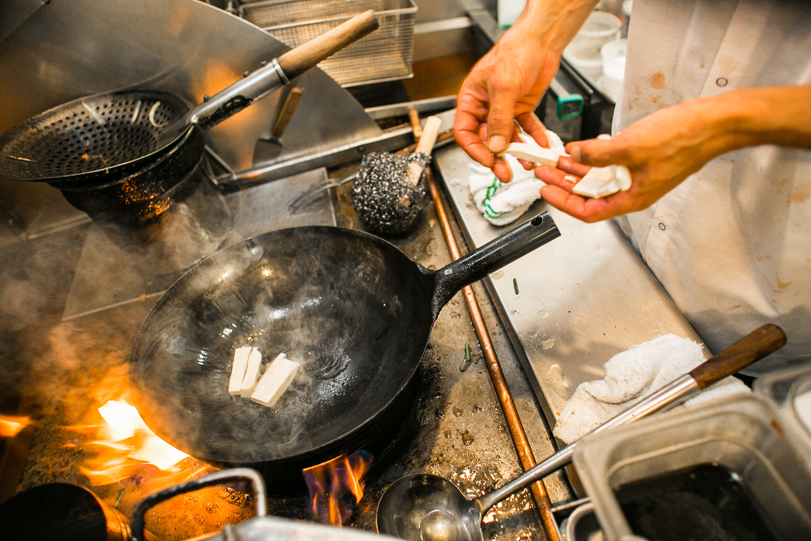 Chef Charles Clarke prepares Shanti Tofu at A Single Pebble Restaurant in Burlington, Vermont on Tuesday, September 13, 2016.