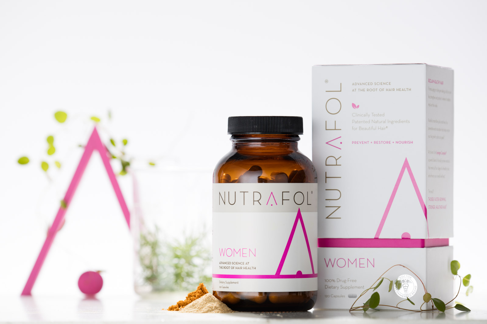 Nutrafol women's hair loss product photography by Reciprocity Studio photographers in Burlington, Vermont.