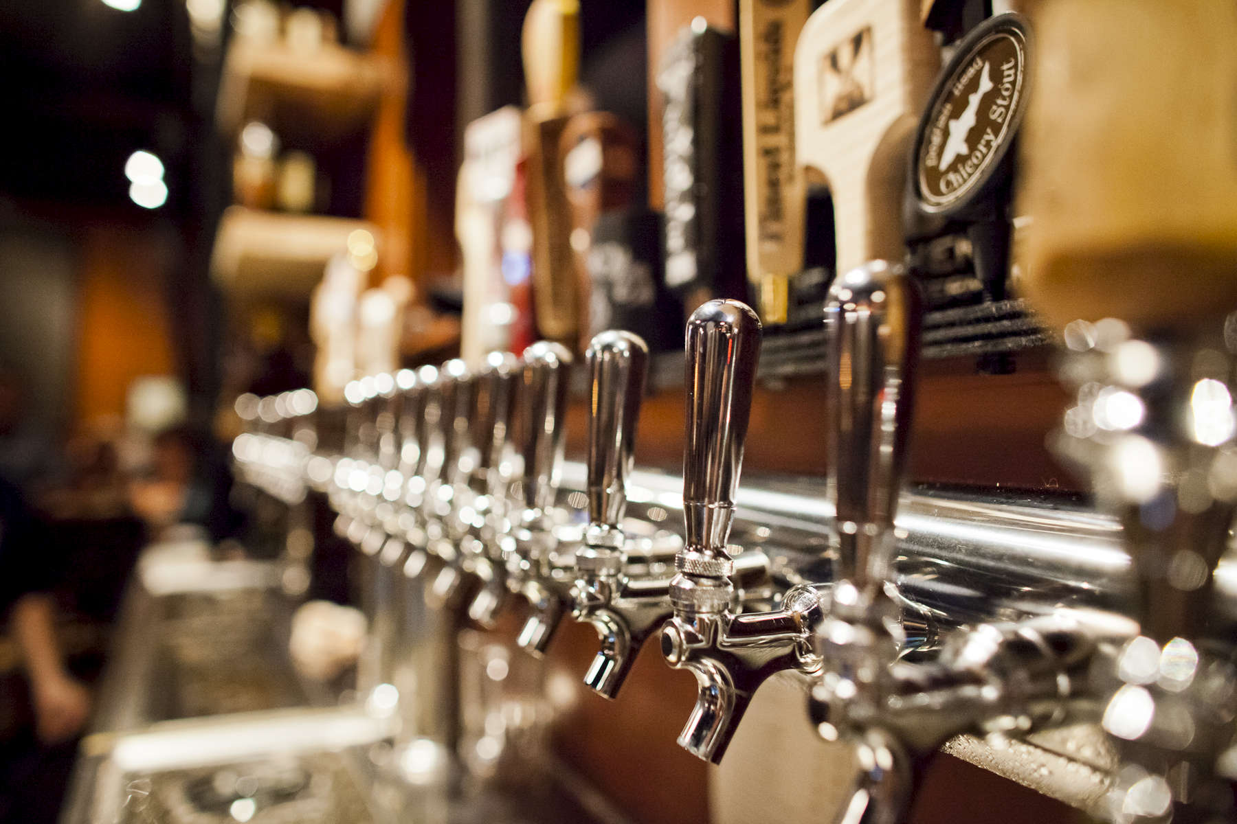 Detail of taps at Prohibition Pig in Waterbury, Vermont. photo by Monica Donovan for the Boston Globe