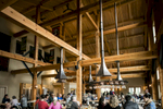 Soaring architecture over the Von Trapp Brewing Bierhall Restaurant in Stowe, Vermont on Monday, October 3, 2016.