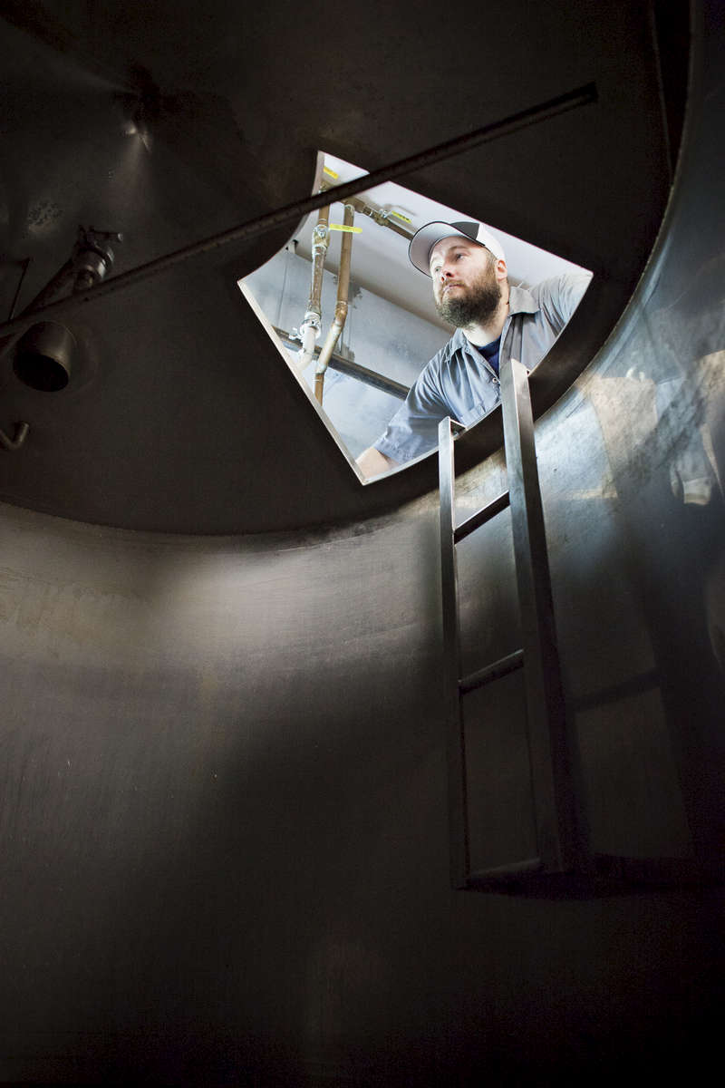 Portrait of Jim Conroy, lead brewer at the Alchemist Cannery in Waterbury, Vermont. photo by Monica Donovan for the Boston Globe