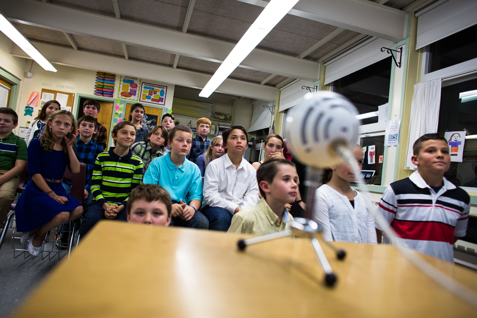 Teacher Cassie Underwood's fifth grade sudents meet Korean students for the first time over Skype at Fletcher Elementary in Fletcher, Vermont on Thursday, October 20, 2016. by Monica Donovan for the George Lucas Educational Foundation
