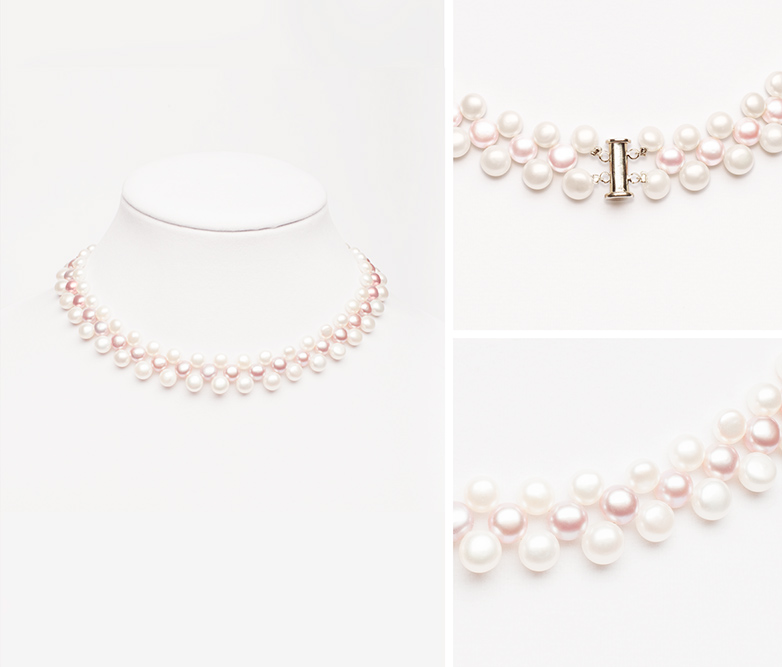 Long river pearl necklace by Vermont photographers at Reciprocity Studio in Burlington.
