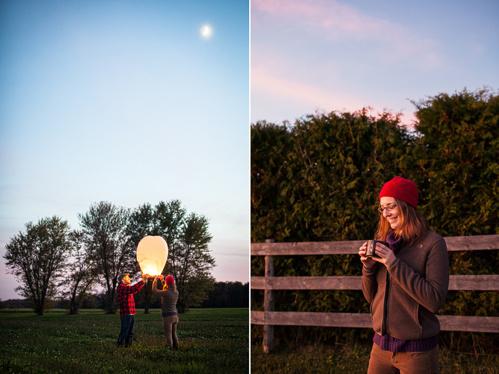 Young woman at sunset in fall and two people releasing a paper lantern in Autumn in new england. by Vermont photographers at Reciprocity Studio, Burlington