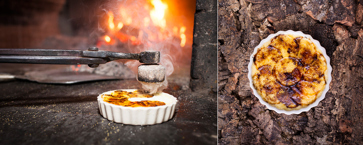 Creme brule is prepared using a hot iron from a clay oven at Nika Restaurant in Burlington, Vermont. by photographers at Reciprocity Studio