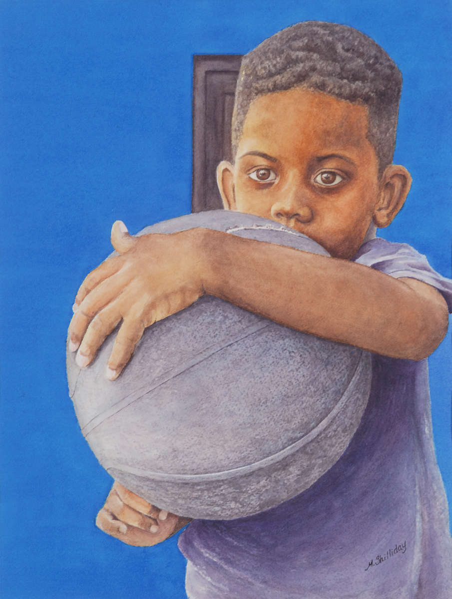 An Afro-Cuban boy holds a basketball against blue wall. Watercolor by Martha Shilliday