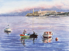 Fishing boats with men fishing in Havana harbor with Morro Castle in the background. Watercolor by Martha Shilliday.