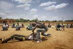 Africa, Mali, Mopti. Some members of the militia FLN \{quote}Liberation des Regions du Nord\{quote} are seen during the training. ©Marco Gualazzini/ New York Times