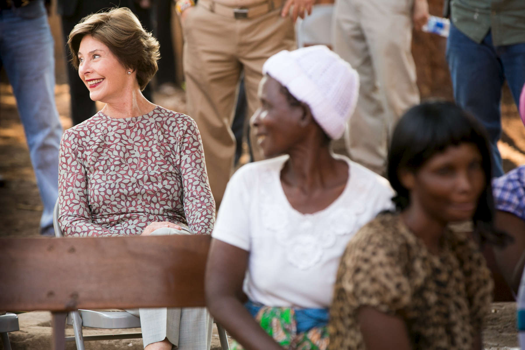 President George W. Bush and Mrs. Laura Bush open the MOSI OA TUNY CLINIC RENOVATION PROJECT with Zambian Dr. Christine Kaseba in Livingston, Zambia. The trip of President George W. Bush and Mrs. Laura Bush to Zambia and Tanzania on July 1, 2013. Photo by Paul Morse