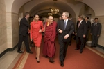 President Bush: Meeting with the Dalai Lama. Yellow Oval Room. Private Residence.  Sec. Condoleezza Rice is present. JUMBO