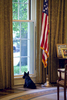 1300: Personal/Staff time. Oval Office. President Bush works with Harriet Miers. Barney looks out the window.Released to NBC 050205WEB RELEASED TO: Presidential Inaugural Committee Book,  \{quote}Portrait of a Leader: George W. Bush\{quote} published in English and Spanish by Epicenter Media, Nov. 2005