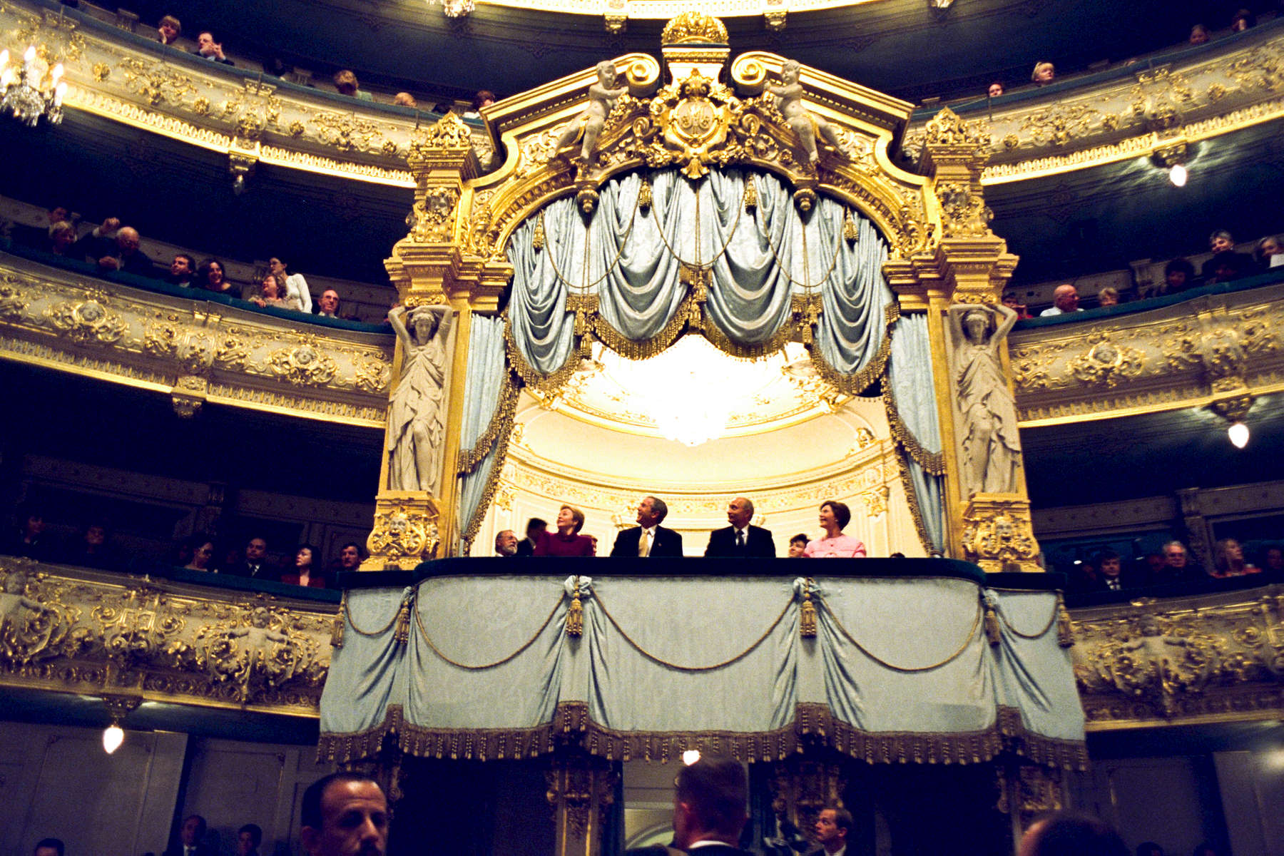 PRESIDENT BUSH AND LAURA BUSH ATTEND A PERFORMANCE AT THE MARIINSKIY THEATER IN ST. PETERSBURG, RUSSIA  WITH PRESIDENT VLADIMIR PUTIN AND HIS WIFE, LYUDMILA. Jumbo, web photo. Used in Bush Family Scrapbook May 1-May 28, 2002