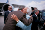 President Bush: Departure from Hartsfield-Jackson Atlanta International Airport. Atlanta, Georgia The President kisses his mother, former First Lady Barbara Bush.
