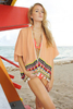 20763 ELOISE COVERUP PEACH 83311 REJIN NECKLACE  BEIGE