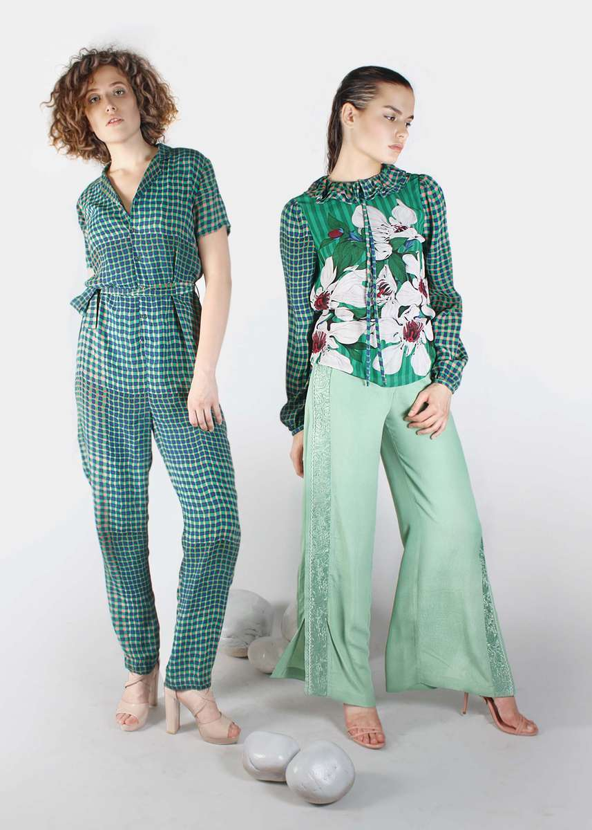 Right~ 34133 REALDA TOP DP GROUP 568_SS 19-91179 DELOS WIDELEG PANTS ABYSS GREENLeft ~ 61067 ENTICA JUMPSUIT  DP 3016_ SS 19