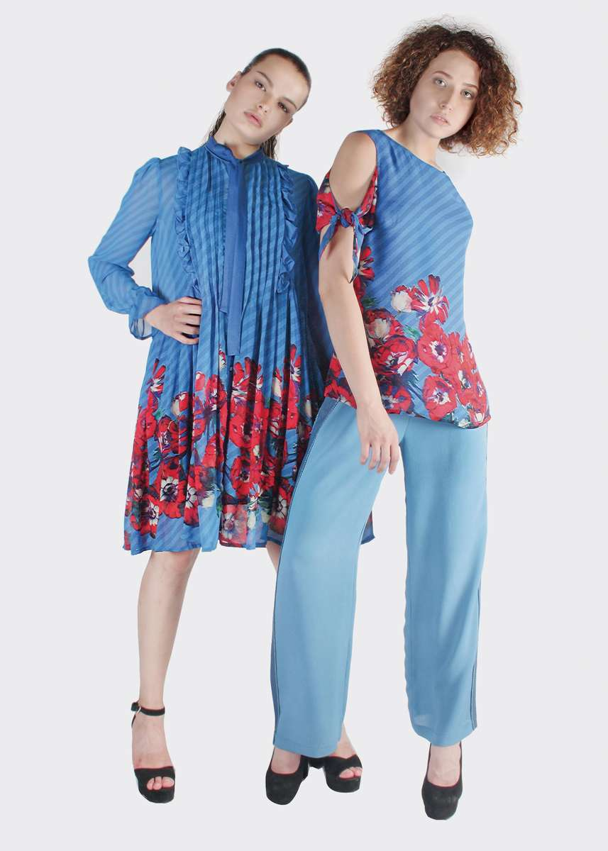 Right~ 34129 OPLONTIS TOP DP 3010_SS 19-91182 ABRILIA WIDELEG PANTS BLUE MOONLeft ~ 48566 OBELIA SHIRT DP 3010_SS 19