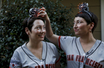 Lisa Thomas, 38, left, and Kristin Hembree, 38, pose for a portrait in an older set of headbands at Thomas' home as they prepare to attend the Giants game later in the evening Sept. 28, 2016 in Concord, Calif. The twins have been going almost monthly to Giants games since 2011 when their father helped to get them hooked on the sport. Over time, they began making matching headbands to wear and they now do it for every game they go to.