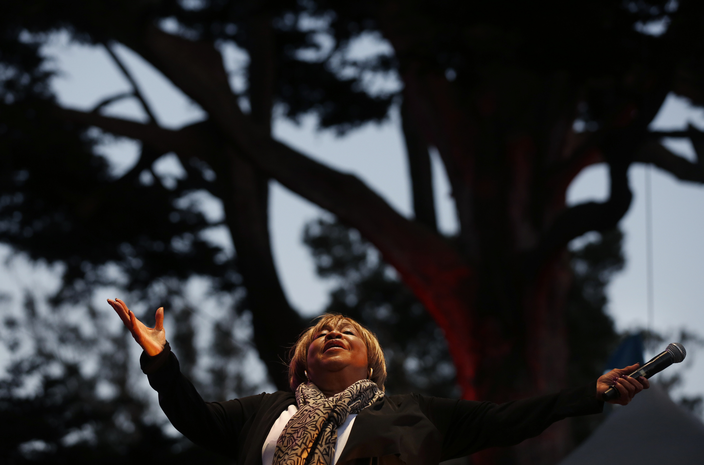 Mavis Staples performs during the first day of the annual Hardly Strictly Bluegrass festival in Golden Gate Park Sept. 30, 2016 in San Francisco, Calif.