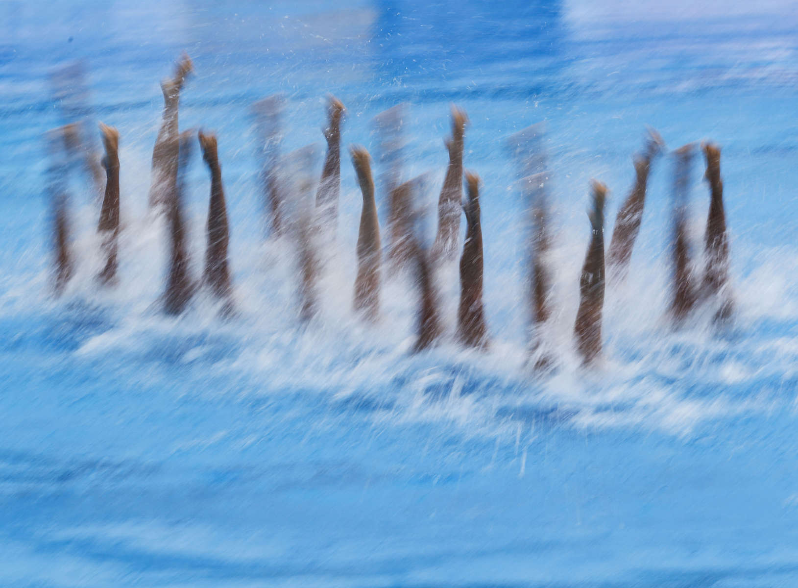 The Chinese team swims for the Synchronised Swimming Combination Free finals, during the FINA World championships in Budapest, Hungary on July 22, 2017. Taking advantage of the fact that the Russian team did not entered this event, the Chinese team won its first Synchronized Swimming World Championship gold medal in this event.