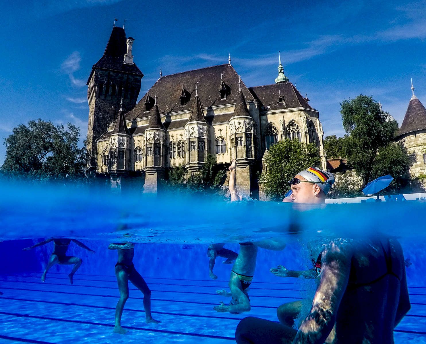 The German team practices during the FINA World championships in Budapest, Hungary on July 20, 2017.