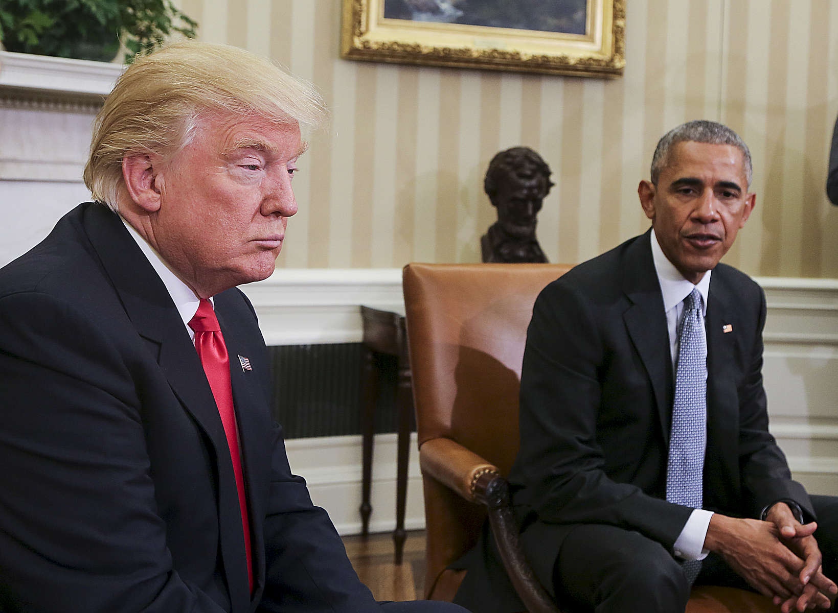 US President elect Donald Trump meets with US President Barack Obama for the first time in the Oval Office.