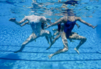 The US junior synchronized swimming team works on its routine.