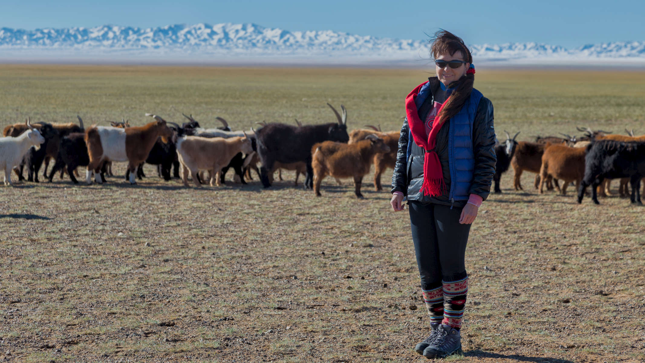Enjoying the fresh clean air in the Mongolian countryside when visiting a local family.